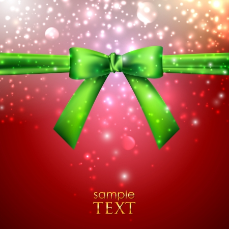 holiday background with green bow Stock Vector - 18925294