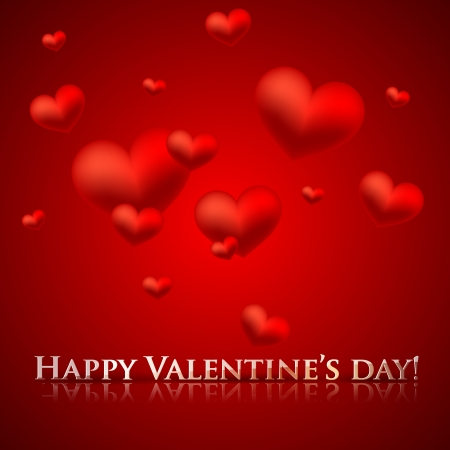 happy valentine's day. holiday background with red hearts Stock Vector - 18925203