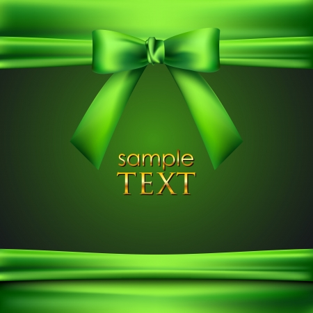 green background with bow and ribbon Vector