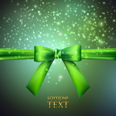 holiday background with green bow Stock Vector - 18925296