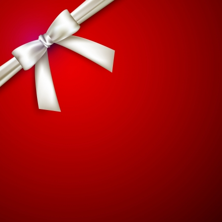 silk ribbon: red background with white bow Illustration