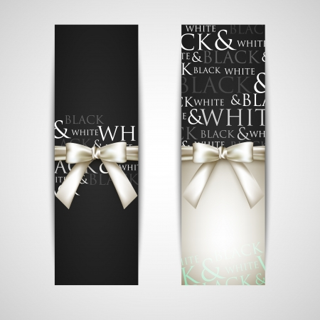 black bow: greeting cards with white bows Illustration