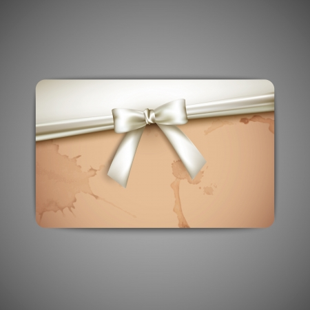 gift card with white bow and ribbon  Stock Vector - 19715742