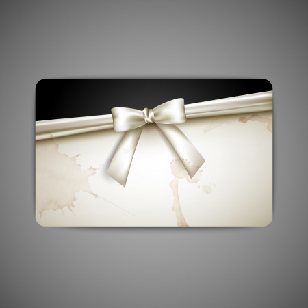 black satin: gift card with white bow and ribbon