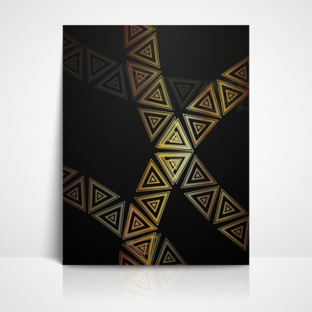 background with golden triangles  brochure template Stock Vector - 21062277