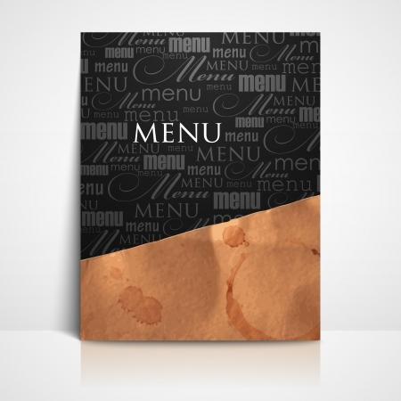coffee stain: restaurant menu design with grunge cardboard texture Illustration