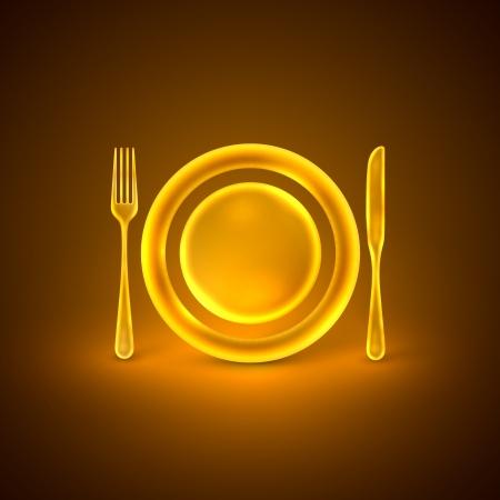 dinner plate: illustration with golden plate, knife and fork Illustration