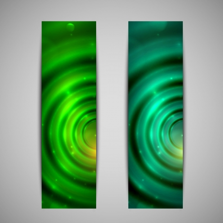 set of abstract green glowing banners Stock Vector - 21062314