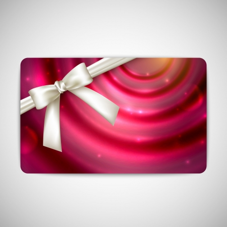 holiday gift card with white bow and ribbon Stock Vector - 21062345
