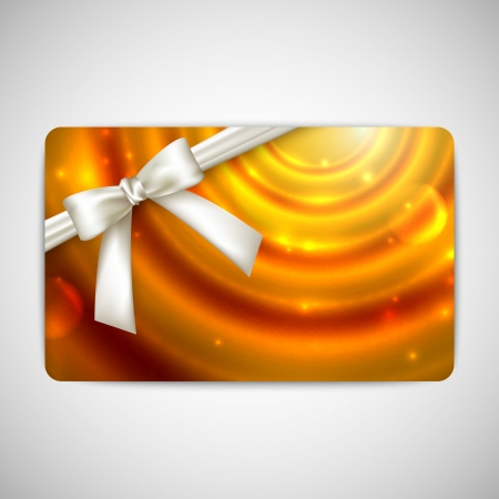 holiday gift card with white bow and ribbon  Vector