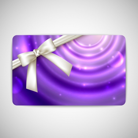 purple card with white bow and ribbon Stock Vector - 21062363