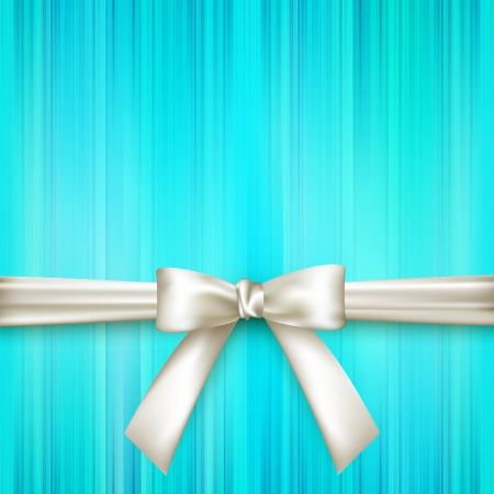 and turquoise: blue striped background with white bow Illustration