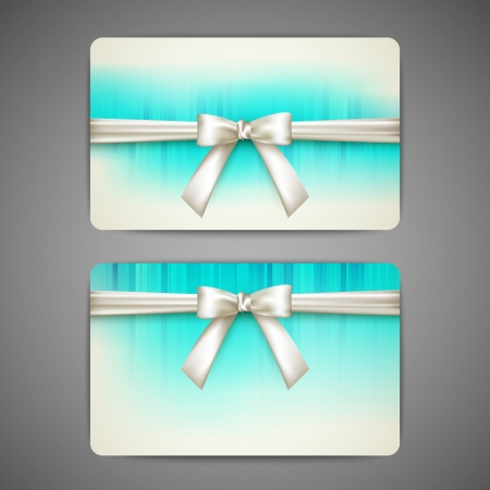 gift cards with white bows and ribbons Stock Vector - 21062450