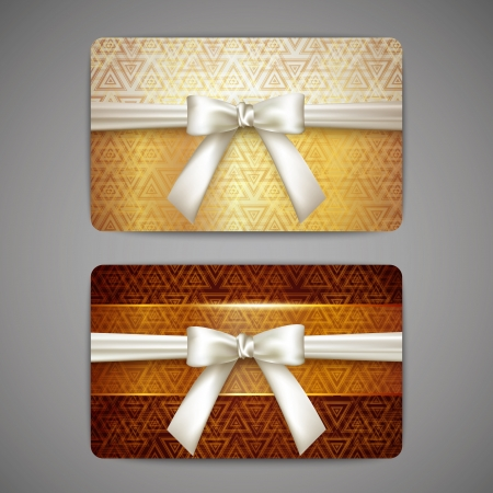 gift pattern: set of golden gift cards with white bows Illustration
