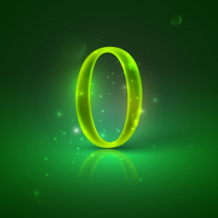 0  Green glowing number zero Stock Vector - 21317441