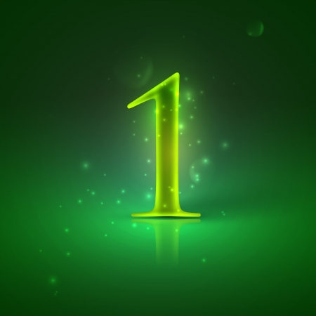 1  Green glowing number one Stock Vector - 21317442