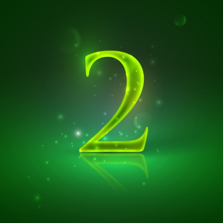 2  Green glowing number two Stock Vector - 21317443