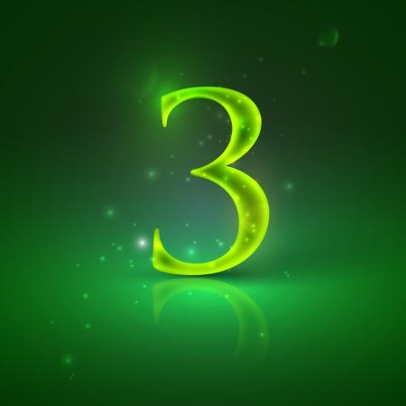 3  Green glowing number three Stock Vector - 21317444