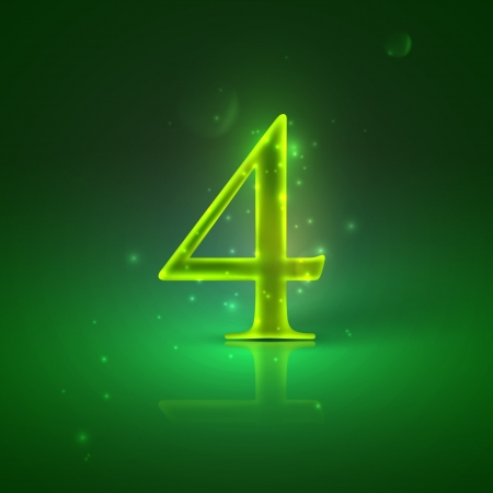 4  Green glowing number four Stock Vector - 21317445
