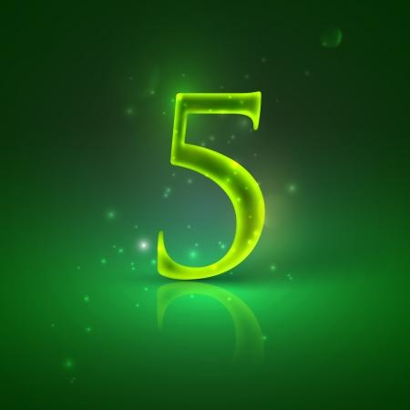 5  Green glowing number five Stock Vector - 21317446