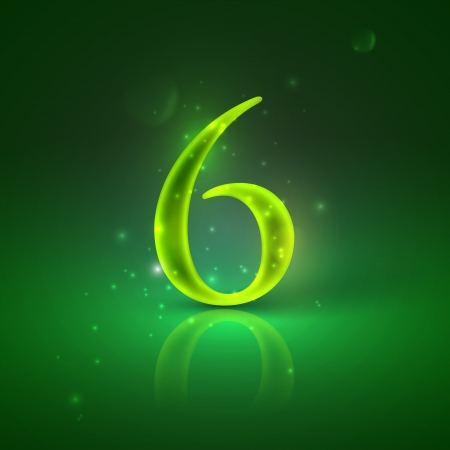 6  Green glowing number six Stock Vector - 21317447