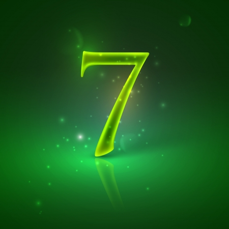 number seven: 7  Green glowing number seven