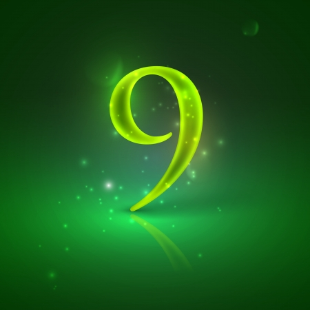9  Green glowing number nine Stock Vector - 21317450