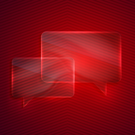 abstract red background with glass transparent speech bubbles Vector