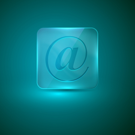 glass icon with e-mail sign Vector
