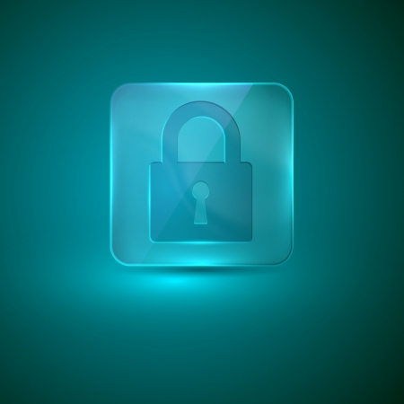 glass icon with lock sign Vector