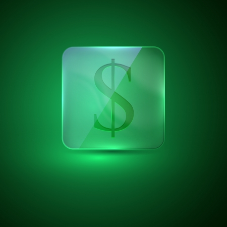 glass icon with dollar sign Vector