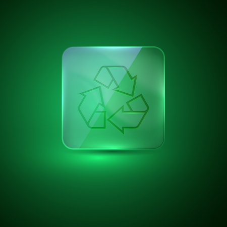 glass icon with recycle sign Vector