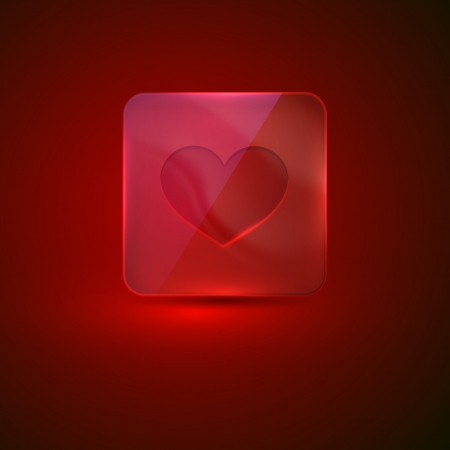 glass icon with heart sign Vector
