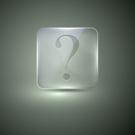 shiny buttons: glass icon with question sign Illustration