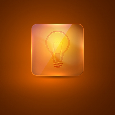glass icon with lightbulb Vector