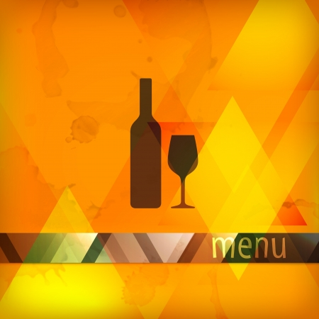 menu design with bottle and wineglass sign Vector