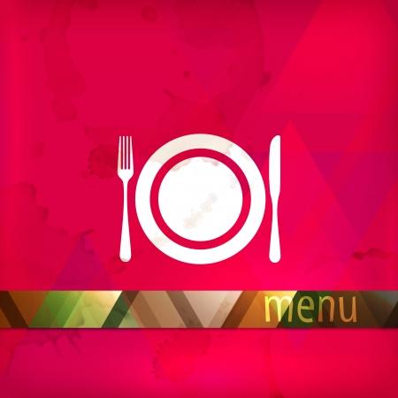 restaurant menu design with plate, fork and knife  Illustration