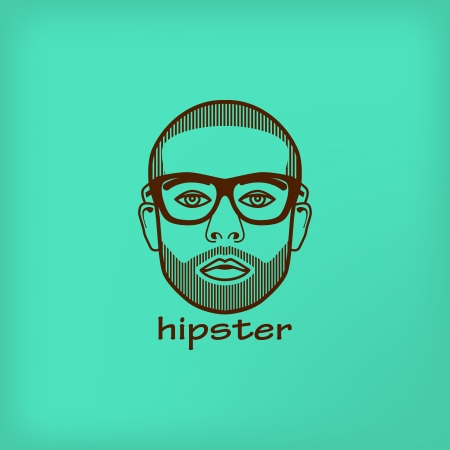 illustration with male face  hipster Vector