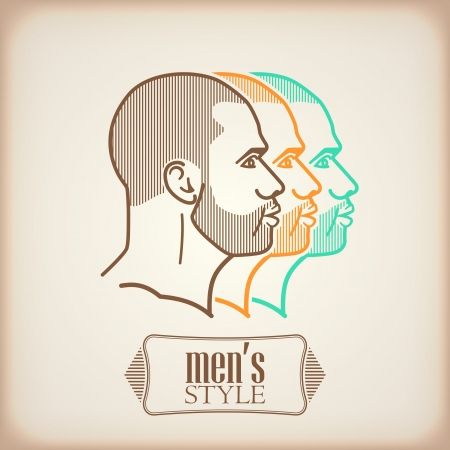 illustration with male faces Vector