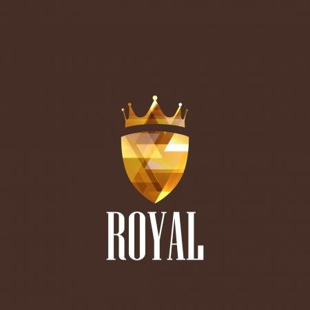 corona rey: ilustración con corona de diamantes y el escudo Vectores