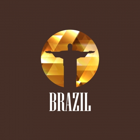 illustration with diamond christ the redeemer statue Vector