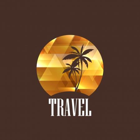 palm tree sunset: illustration with diamond tropical island Illustration