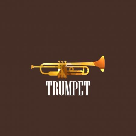 troubadour: illustration with the diamond trumpet icon Illustration