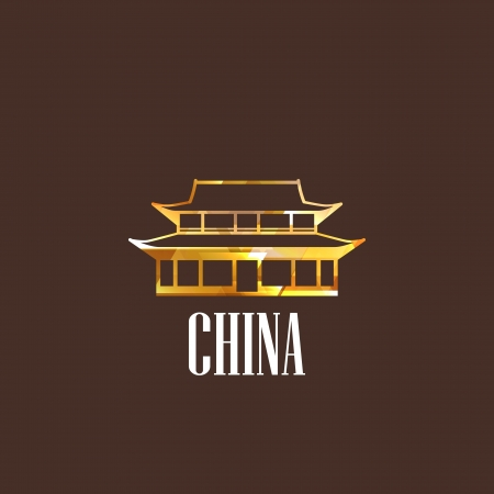 illustration with diamond chinese building icon Stock Vector - 22035906