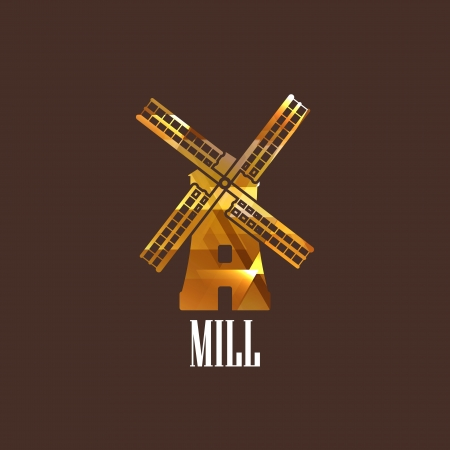 flour mill: illustration with a mill icon Illustration