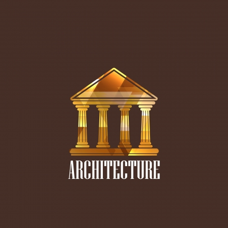 illustration with building icon Vector