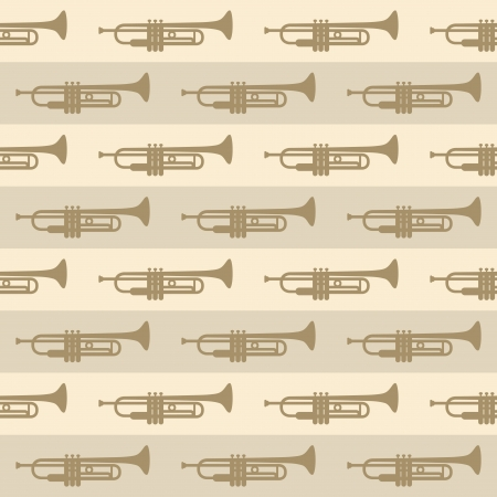 seamless vintage background with trumpets Vector
