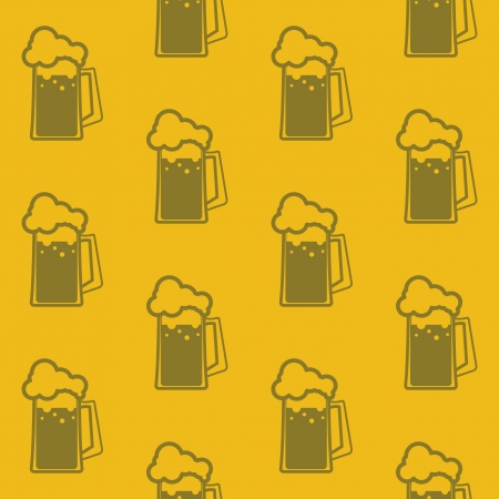 seamless background with beer mugs Vector