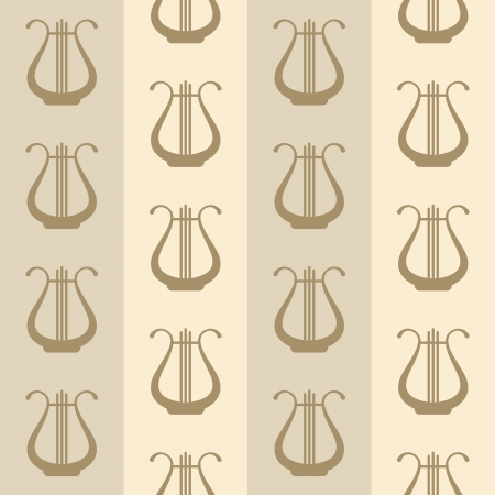 lyre: seamless vintage background with lyres Illustration