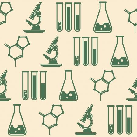 beaker: seamless background with laboratory equipment